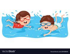 Kid swimming vector image on VectorStock Quiet Time Activities, Preschool Activities, Cartoon Drawings, Cute Drawings, Swim Logo, Cartoon Kids, Coloring Pages For Kids, Art Images, Kids Playing