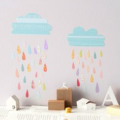 Vinilo infantil original de nubes y lluvia en diversos estampados - Minimoi