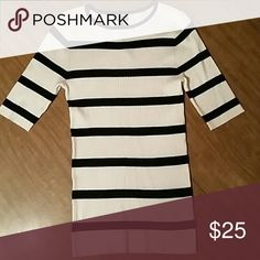 Striped shirt Form fitting 3/4 sleeve top. Super soft and stretchy! Express Tops Tees - Short Sleeve