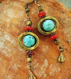 Turquoise Dangle Earrings Boho Brass Earrings by IsleofSkyeJewelry www.isleofskyejewelry.etsy.com