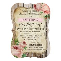 Country Roses and Rustic Wood Birthday Invite