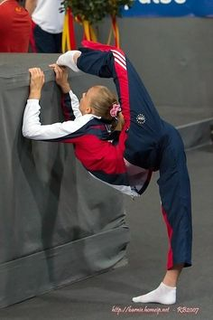 Nastia liukin is probably THE most flexible artistic gymnast I know of
