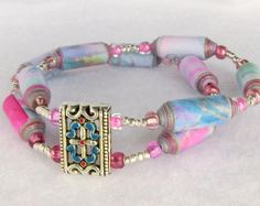 Bracelet with Pink, Blue, and Silver Beads available at PurpleDot Boutique #gifts #paperbeads