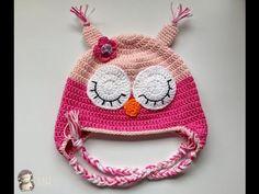 Como hacer un gorrito búho para nenes en crochet. No se necesitan grandes conocimientos de ganchillo, tan sólo los puntos básicos.