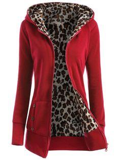 Zipper Fly Thicken Leopard Pattern Hoodie #CLICK! #clothing, #shoes, #jewelry, #women, #men, #hats