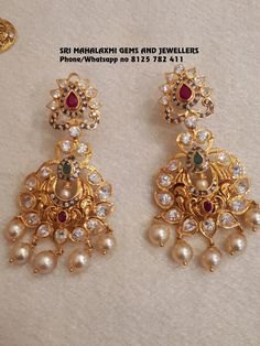 Sri Mahalaxmi Gems and Jewellers Contact 092468 89611 Email Gold Jhumka Earrings, Jewelry Design Earrings, Gold Earrings Designs, Gold Jewellery Design, Crystal Earrings, Pendant Jewelry, Gold Necklace, Gold Designs, Quartz Jewelry