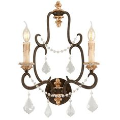 Iron and Crystal Parisian Style Wall Sconce