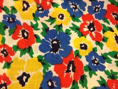 Beautiful Vintage Floral Fabric 2 Yards red yellow by queenastar