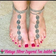 """Pair of Vintage Silver Layered Toe Ring Anklets Dress your feet in these fun & flirty vintage style toe anklets. Enjoy wearing these anklets as beach """"shoes"""". Can be worn with or without shoes and have clasp fastener with extender.  Silver layered chain with silver flowers toe ring Pair of two anklets.  Summer Lovin  Jewelry"""