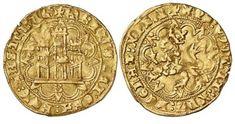 Castellano - Moneda de oro del reinado de Enrique IV (1454-1474) con un peso de 4.5 gramos y una medida de 25 mm.