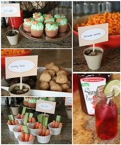 bunny party - There were Carrot Cakes (cupcakes), Shriveled Carrots (cheesy chips), Bunny Tails (assorted donut holes), Veggie Patches (vegetables and dip), and a delicious Cranberry Spritzer.