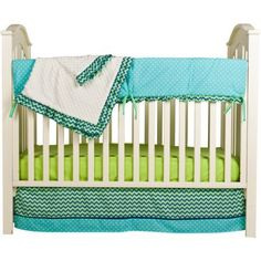 This bright and cheerful Pam #Grace Creations Simply ZigZag 4-Piece Crib Bedding Set is perfect for both boys and girls! Give your baby a modern, trendy nursery ...