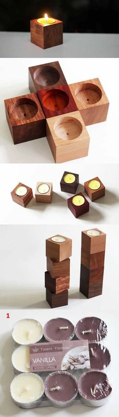 Wooden Candle Holder Set of 5 Wooden Tea Light Holder, Wooden Candle Holders, Candle Holder Set, Diy Candles, Tea Light Candles, Tea Lights, Wooden Crafts, Diy And Crafts, Small Wood Projects