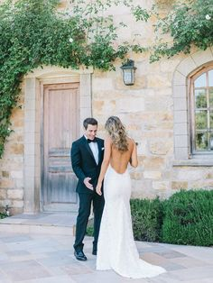 Stunning low back lace dress: http://www.stylemepretty.com/2015/09/21/intimate-summer-sunstone-villa-wedding/ | Photography: Luna De Mare - http://lunademarephotography.com/