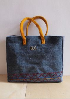 Handbag Woven Peru (could translate into chambray backpack with yellow handle, monogram, red or blue zipper, yellow and white striped bottom).