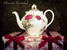 RP: Vintage Royal Albert Bone China in the Royal Canadian Rose Ornate Big Rose Teapot by IRememberWonderland - etsy.com