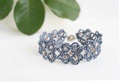 Blue lace bracelet Butterflies blue bracelet with by LacedMood, $30.00