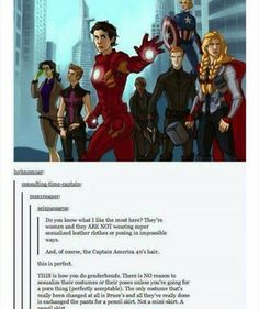 THIS is how you genderbend.....And am I the only one who thinks Cap looks like Annabeth as an Avenger here?