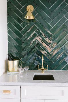 Tile Accent Wall, Green Accent Walls, Kitchen Splashback Tiles, Glass Tile Backsplash, Chevron, Herringbone Wall, Herringbone Pattern, Herringbone Backsplash, Dark Green Bathrooms