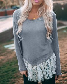 Endearing Scoop Neck Lace Spliced Long Sleeve T-Shirt For Women