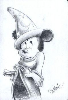 Garrido, Sergio - Original Sketch - Mickey Mouse - The So.- Garrido, Sergio – Original Sketch – Mickey Mouse – The Sorcerer's Apprentice … Garrido, Sergio – Original Sketch – Mickey Mouse – The Sorcerer's Apprentice – W. Arte Do Mickey Mouse, Mickey Mouse Sketch, Mickey Mouse Drawings, Cool Drawings, Drawing Sketches, Drawing Drawing, Drawing Tips, Pencil Drawings, Mouse Tattoos