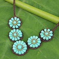 Artisan Crafted Thai Floral Crochet Necklace - Sky Blossoms | NOVICA