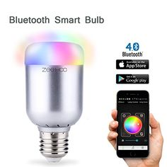 ZeeHoo Bluetooth Smart LED Light Bulb Smartphone Music Sync Group Controlled Dimmable Multicolored Color Changing Wake Up and Party Lights Bulb E27 6W * You can find out more details at the link of the image.(It is Amazon affiliate link) #pink