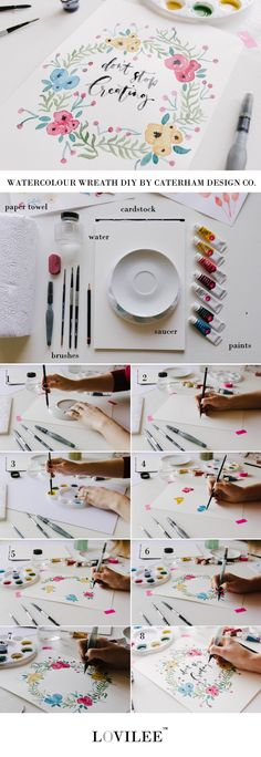 Step by step instructions by Caterham Design Co to paint a watercolour wreath