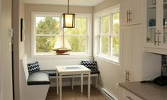 Whitestone is a family owned and operated company in Halifax, Nova Scotia specializing in new home construction and renovations. Dining Booth, New Home Construction, Breakfast Nook, Living Area, Farmhouse Style, Kitchen Dining, Building A House, New Homes, Flooring