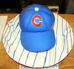 Chicago Cubs baseball cap cake.JPG