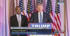 Former Republican presidential candidate Dr. Ben Carson endorses Donald Trump at a news conference in Palm Beach, Florida.