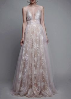 Sexy Deep V-neck Sleeveless Long Blush Prom Dress Ruched - Thumbnail 1