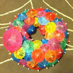 Summer Time Door Decor - just a few umbrellas added to the twig wreath and maybe some Hawaiian flowers
