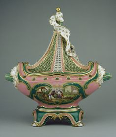 Lidded Pot-pourri Vase (vase or pot-pourri vaisseau à mât, deuxième grandeur); Painting on front panel attributed to Charles-Nicolas Dodin (French, 1734 - 1803, active at Sèvres, France from 1754), Reserve scenes after engravings by Jacques-Philippe Le Bas (French, 1707 - 1783), after paintings by David Teniers the Younger (Flemish, 1610 - 1690), et al; Sèvres, France; about 1760; Soft paste porcelain; pink and green ground colors; polychrome enamel decoration and gilding.