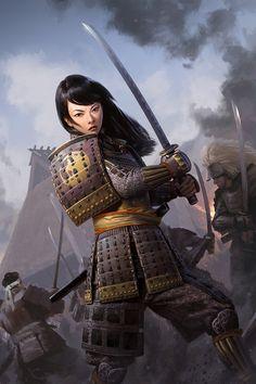 Fantasy Samurai, Samurai Concept, Medieval Fantasy, Dnd Characters, Fantasy Characters, Female Characters, Character Concept, Character Art, Character Design