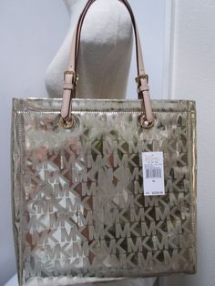 1d7fbe4f9fcd Michael Kors Jet Set Item Tote MK Signature Mirror Metallic Pale Gold  38T1CTTT3Z  MichaelKors