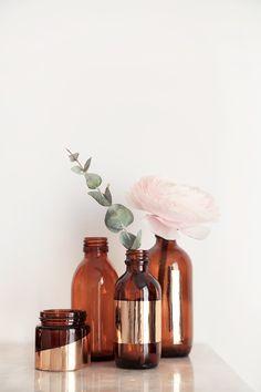 DIY gold stripe vintage bottles