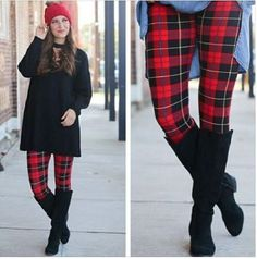 ad43d30fd7386 Extra Plus Red Fall/Winter Plaid Leggings Fits Womens Sizes 16-24 by  JewelryAppeal on Etsy