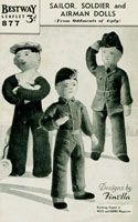 "Bestway 877: Vintage toy pattern for three military dolls from the 1940's. Soldier, sailor and airman knitted in vintage 4ply. Airman 12"" high, Sailor 10"" high, soldier 12""."