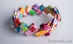 This is a Starburst wrapper bracelet tutuorial. How cool is this for your tween/teenager!