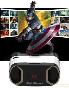 VR DAVI Virtual Reality Video Games Glasses Helmet with Bluetooth Remote Controller gift 3d Video Games, Champaign Gold, Virtual Reality Glasses, Bluetooth Remote, 3d Glasses, Vr Headset, Electronic Devices, Cell Phone Accessories, Helmet