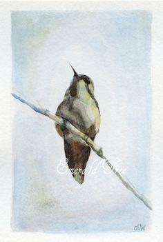 Hummingbird Art Spring's Messenger Original by Emeraldtree on Etsy, $42.00