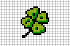 Four Leaf Clover Pixel Art - Cross Stitch Tiny Cross Stitch, Cross Stitch Designs, Cross Stitch Patterns, Motifs Perler, Perler Patterns, Pixel Pattern, Pattern Art, Cross Stitching, Cross Stitch Embroidery