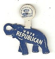 Vote Republican tab button, 1950's