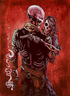 Love, Trust and a Revolver by artist David Lozeau. Featuring a Wild West inspired skeleton couple tattoo art design. Giclee fine art reproductions on canvas. A Canvas Giclee is a gallery wrapped canva Totenkopf Tattoos, Skeleton Art, Skeleton Love, Skeleton Couple Tattoo, Desenho Tattoo, Wow Art, Skull Tattoos, Vanitas, Skull And Bones