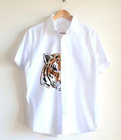 Tiger  handpainted shirt  unique shirt  animal by Dariacreative, $45.00