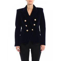 Runwaycatalg.com | Navy classic double-breasted blazer.Army style shimmering velvet double-breasted blazer detailed with padded shoulders and epaulettes, peak lapels, one chest pocket, two front flap pock...