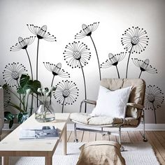 Black and White Dandelions Peel and Stick Mural, Self Adhesive Floral Wallpaper, Removable Wall Decor with Cute Flowers, Nursery Sticker – Car Sticker Wall Design, House Design, White Dandelion, Nursery Stickers, Wall Painting Decor, Wall Drawing, Removable Wall, Textured Walls, Bedroom Wall