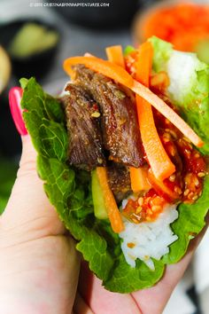 Delicious Korean grilled beef: Beef Bulgogi with sweet spicy dip: Ssamjang and  Asian pickles.