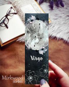 Virgo Zodiac Sign Bookmark, Gift for Virgo, Moon Bookmark, Astrology Print